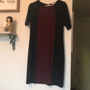 Color block dress black and maroon